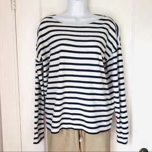 J. Crew Navy Off White Striped Boatneck Cotton Top